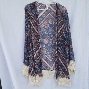 Xhilaration Boho blue & mauve kimono xxl